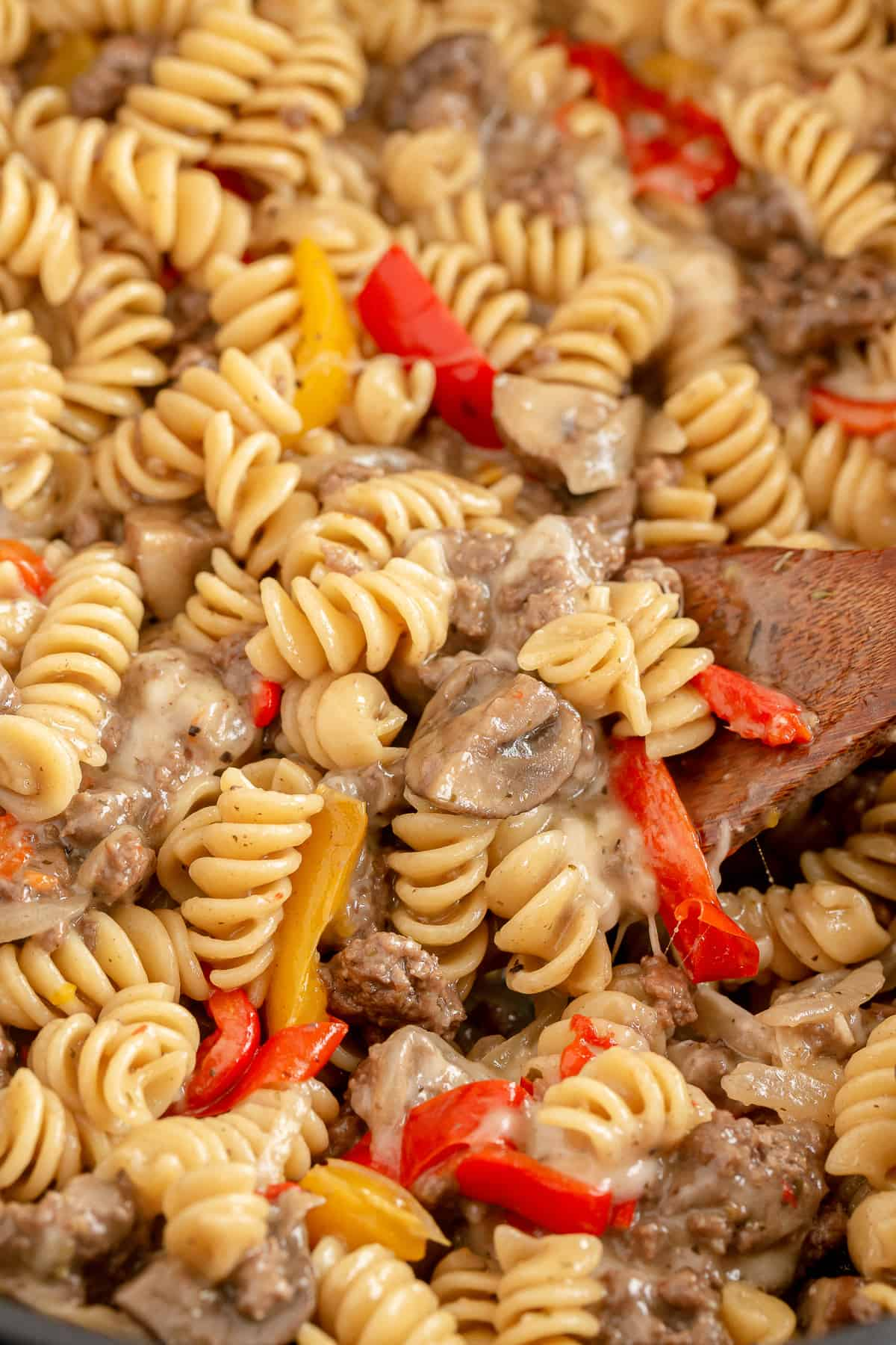 A close up of Philly Cheesesteak Pasta.