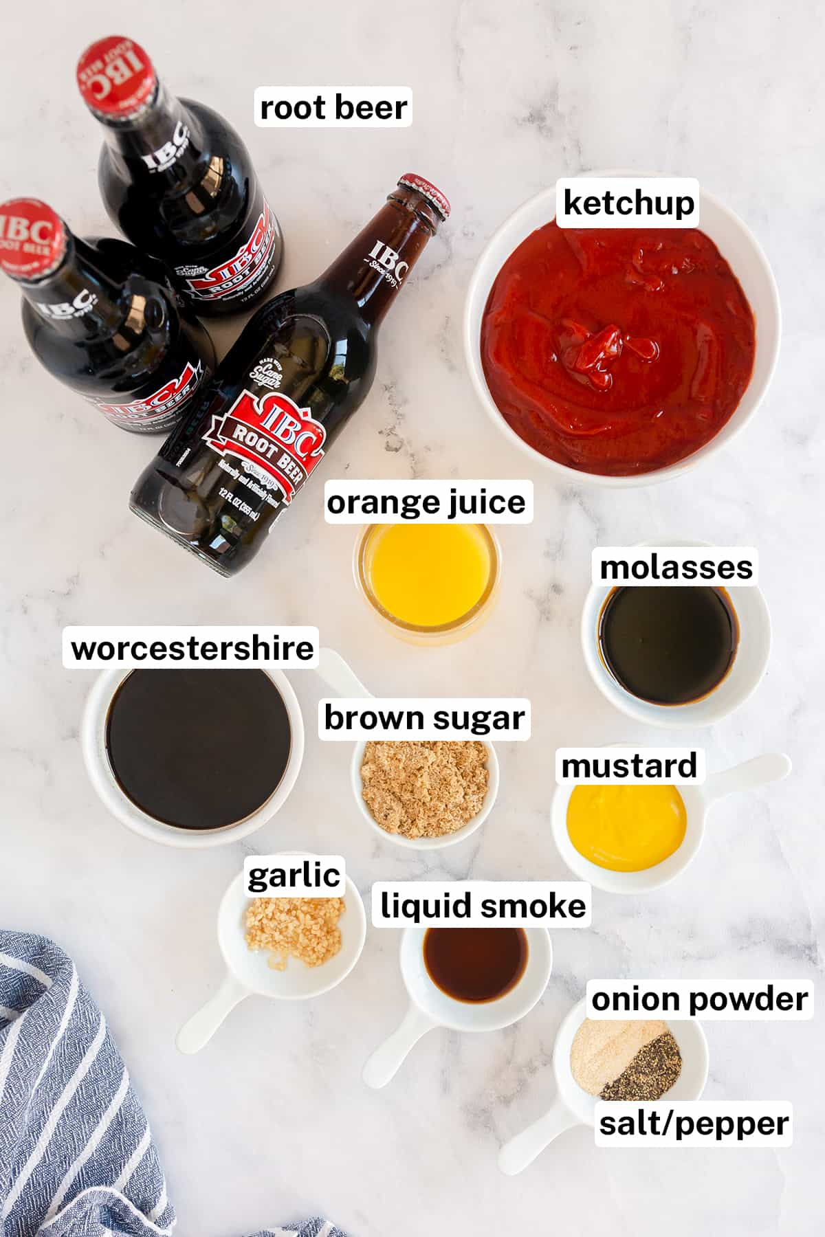 The ingredients for making Root Beer BBQ Sauce with text overlay.
