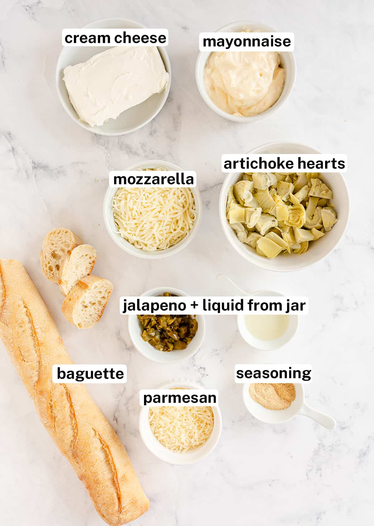 The ingredients to make Artichoke Dip with text overlay.