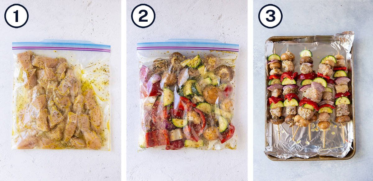 Chicken and vegetables marinating in plastic bags and then on kabob skewers.