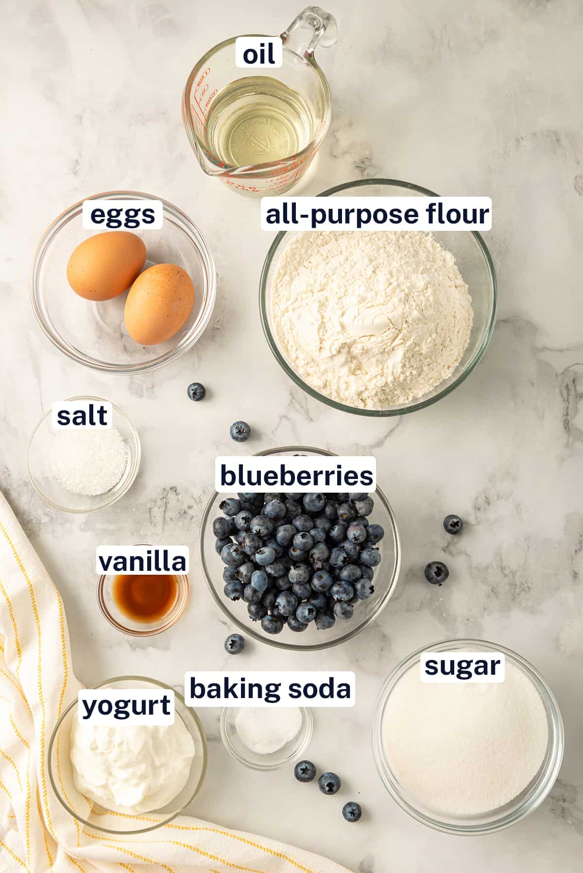 All ingredients needed to make Blueberry muffins with text overlay.