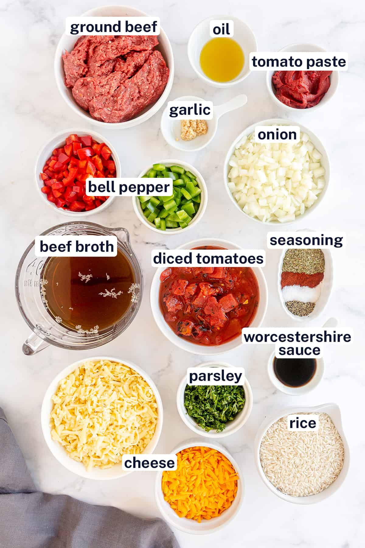 The ingredients for making Stuffed Pepper Skillet with text overlay.