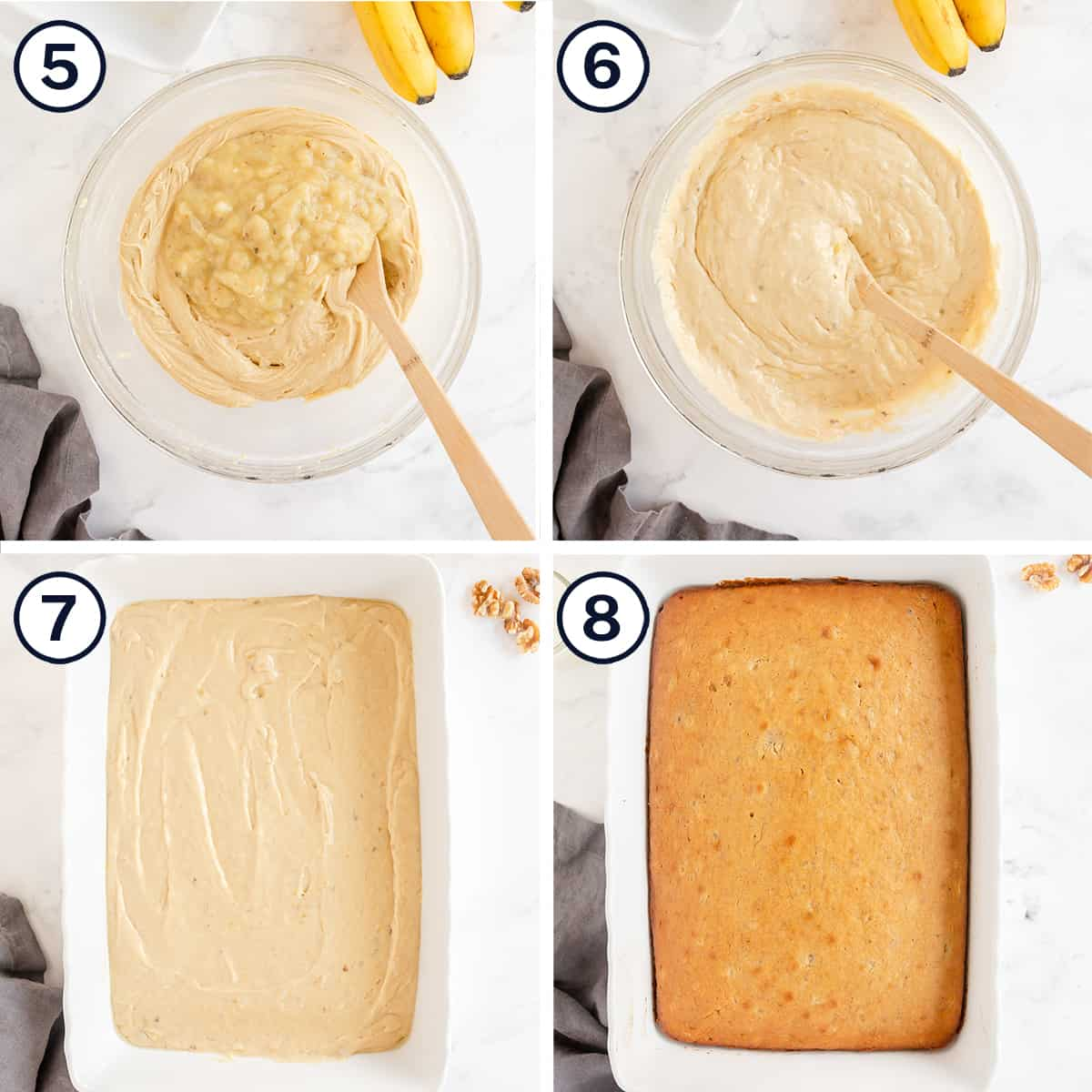 Cake batter is mixed in a bowl and baked in a baking dish.