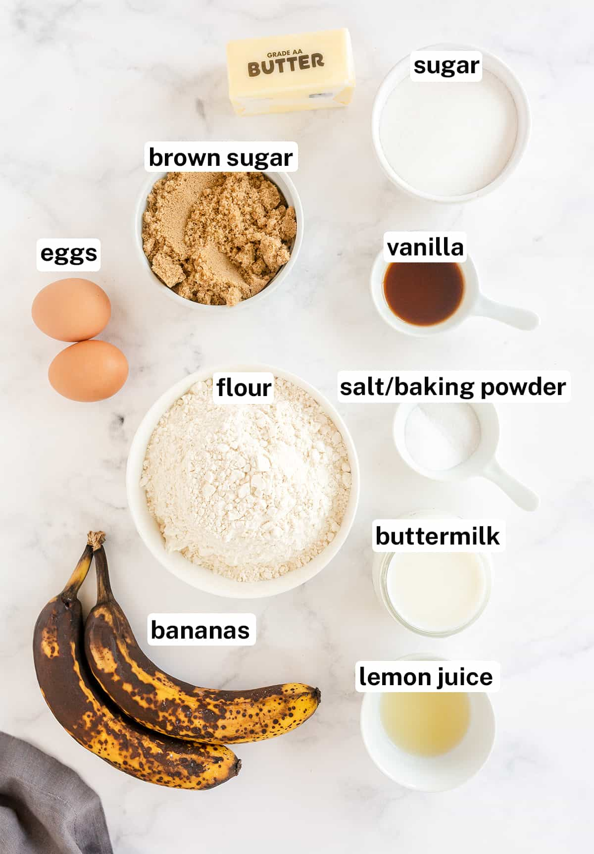 Banana Cake ingredients with text overlay.