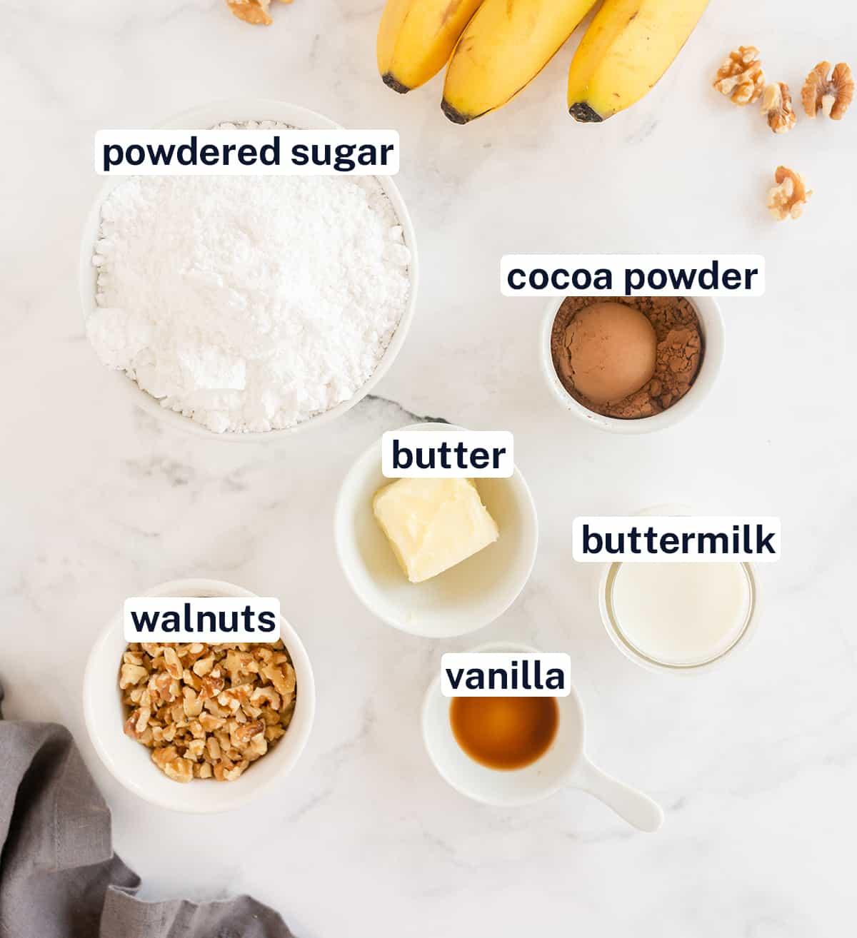 Ingredients for Chocolate Walnut Glaze with text overlay.
