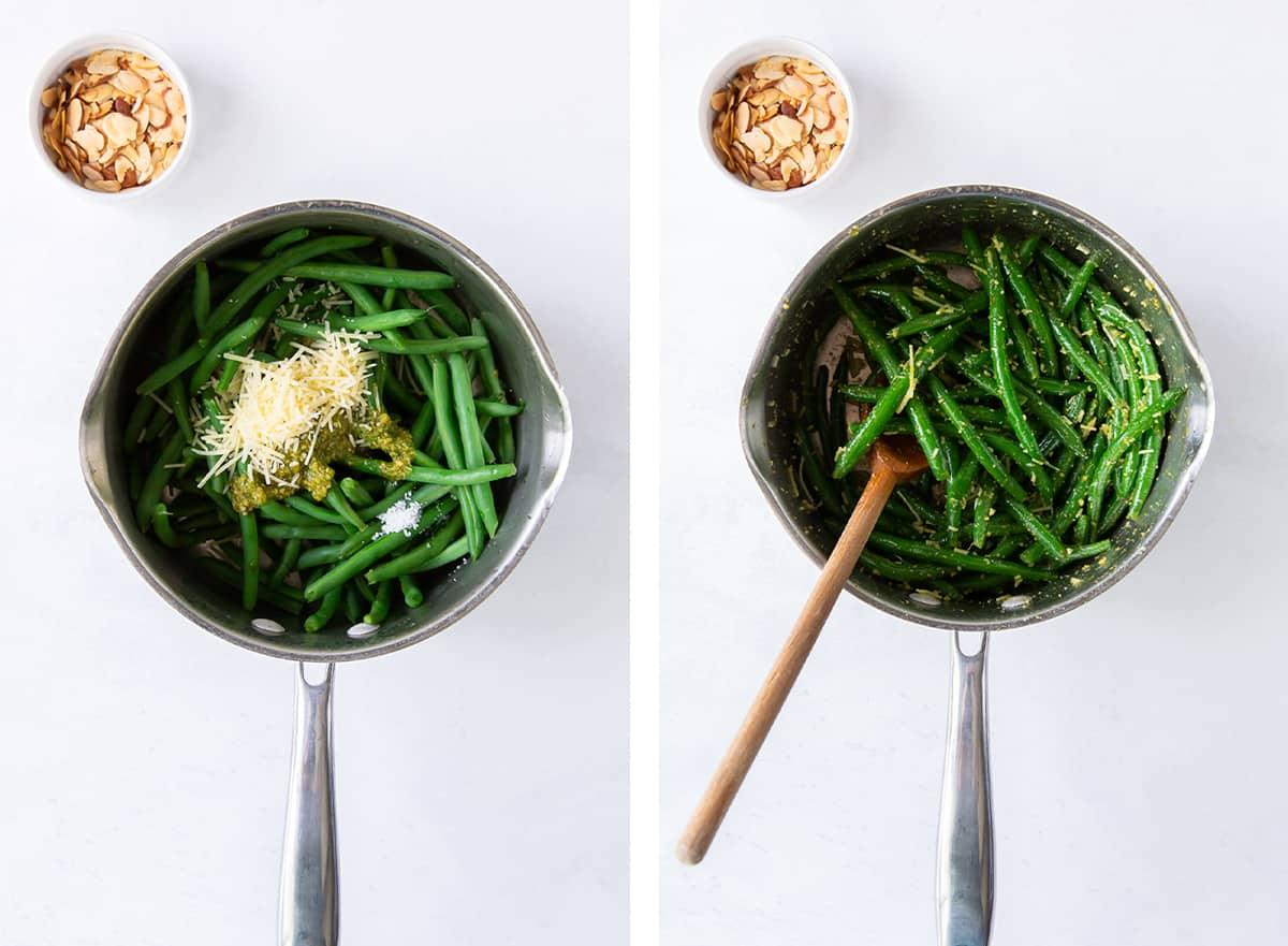 Green beans, pesto, and Parmesan in a saucepan.