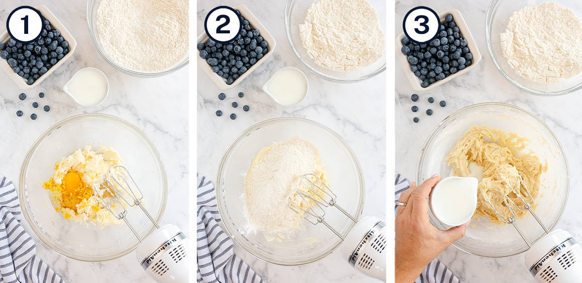 Crumb cake ingredients are combined with a hand mixer in a mixing bowl.