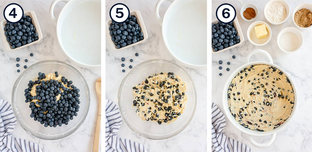 Blueberries being mixed into batter and the batter in a baking dish.