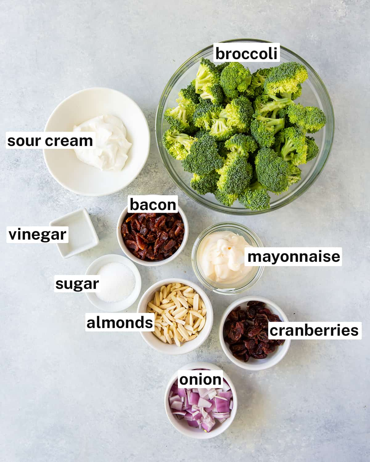 The ingredients needed for Broccoli Salad with text overlay.