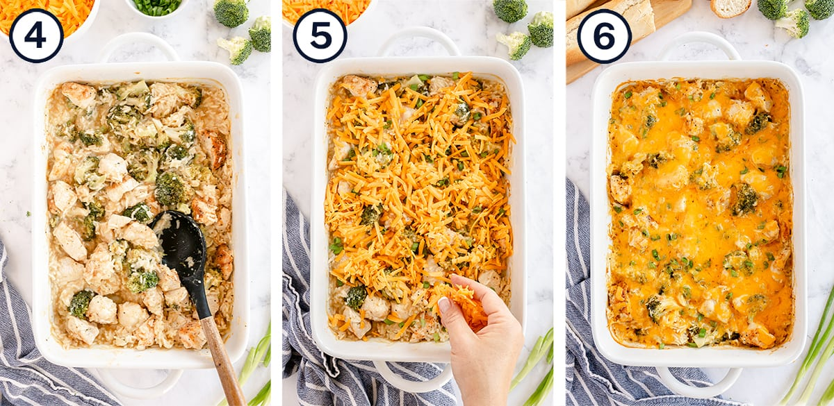 Turn the casserole spoon over and add the cheese by hand.