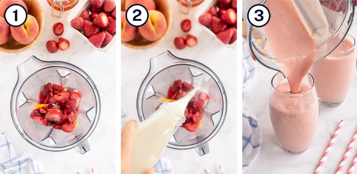 Strawberries, peach and other ingredients in a blender and pour into a glass.