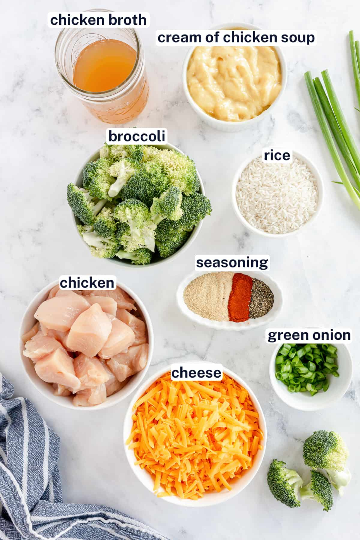 Ingredients for rice bread with chicken and broccoli with text overlay.