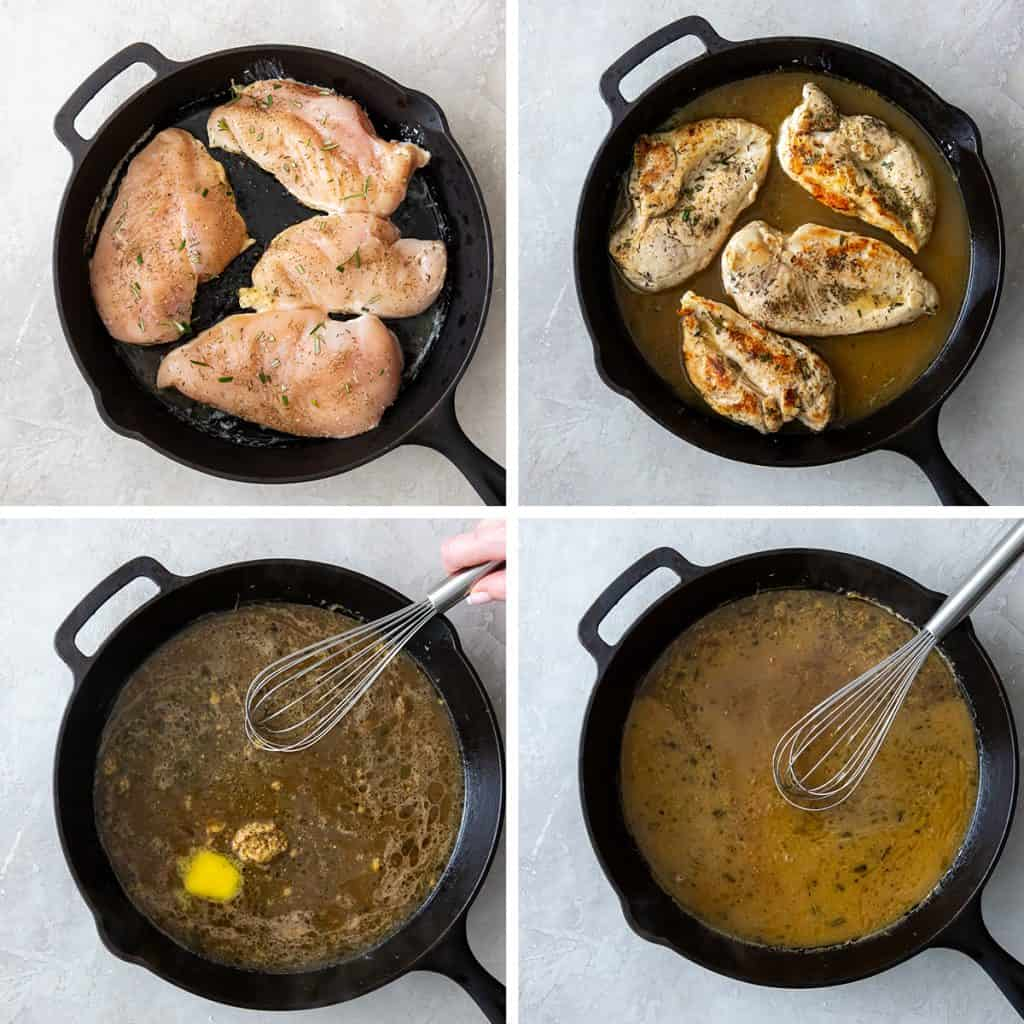 Chicken cooking in a cast iron skillet and a sauce is whisked.