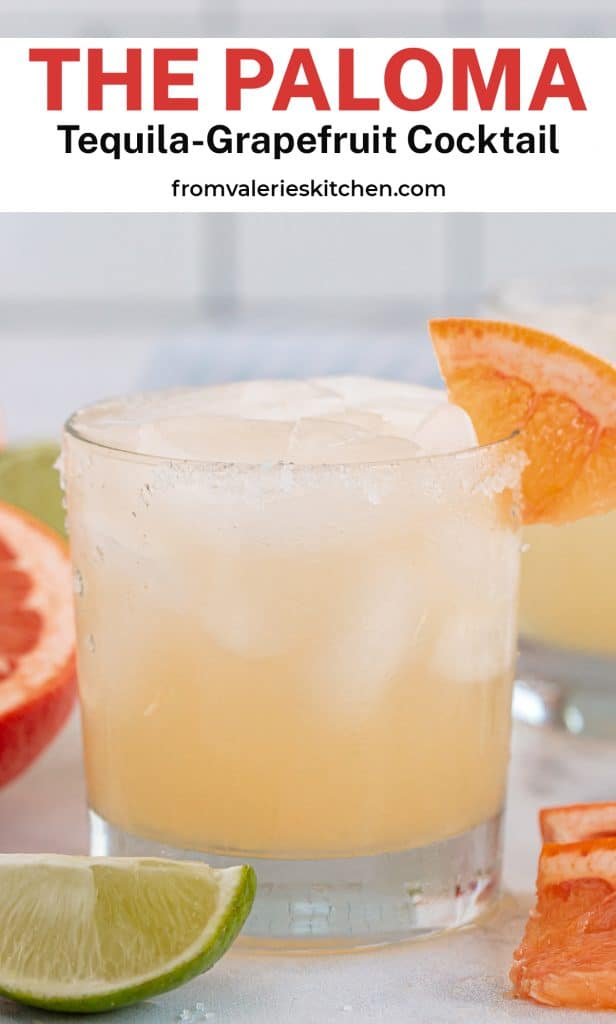 An eye level shot of a Paloma cocktail on a kitchen counter with text overlay.