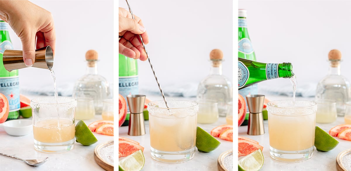 Tequila, grapefruit juice, and other ingredients are combined in a glass.