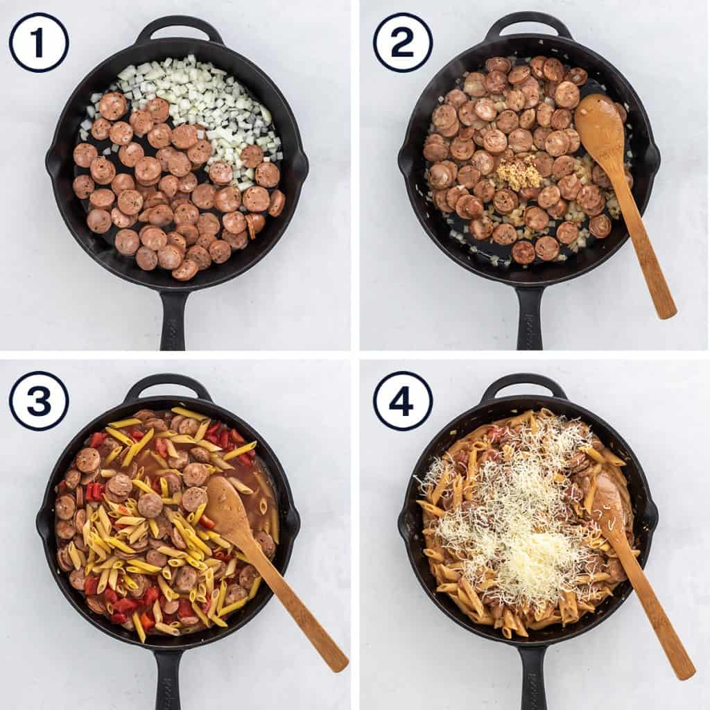 Sausage, pasta and other ingredients cooked in a skillet.