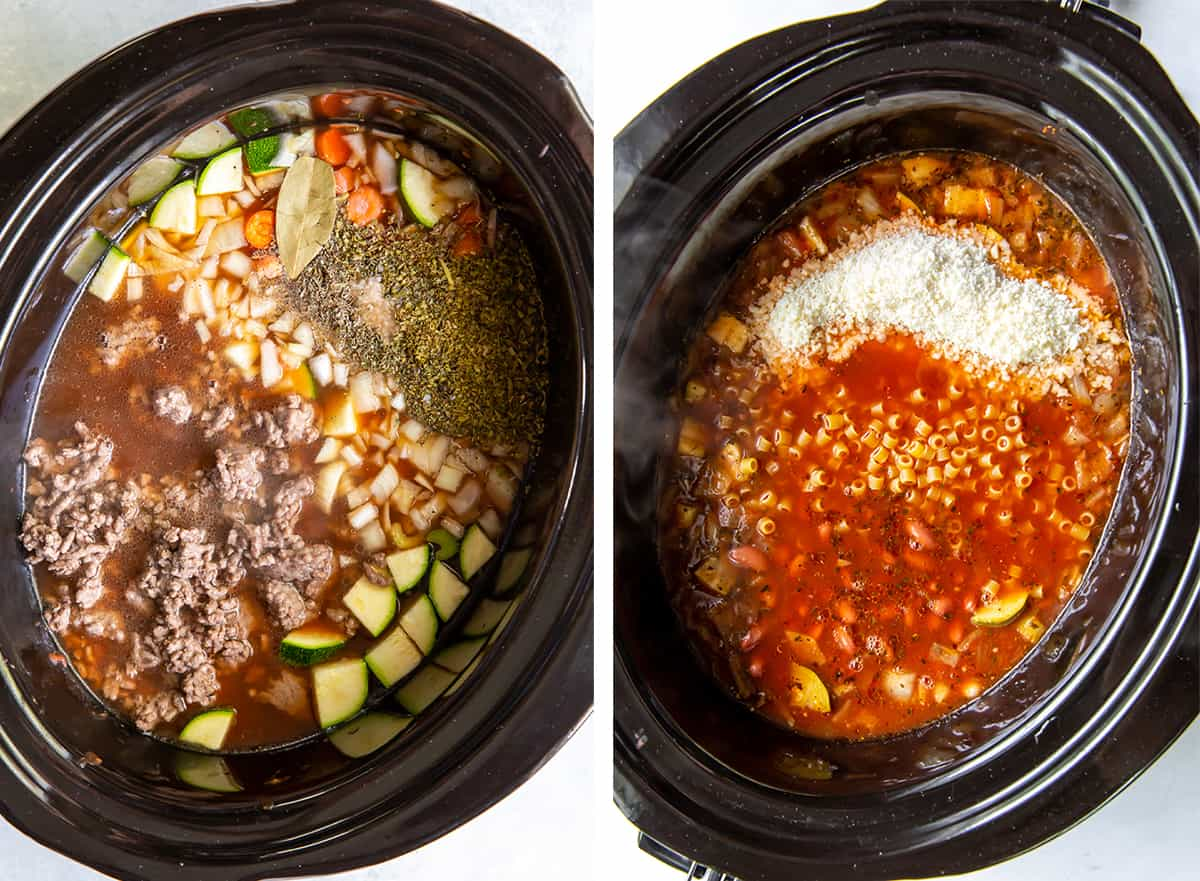 Ground beef, broth and other ingredients in slow cooker.