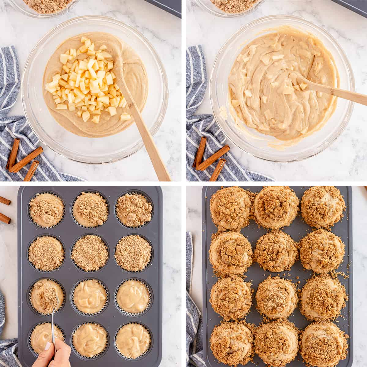 Muffin batter in a bowl and in a muffin pan being topped with streusel.