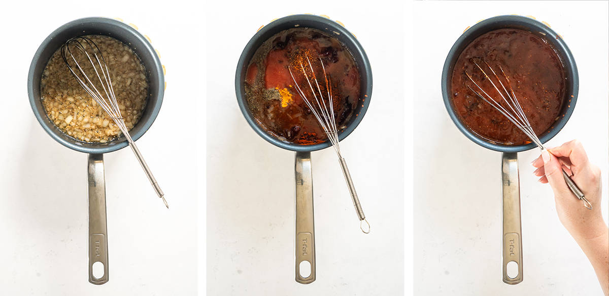 Three images showing BBQ sauce being made in a saucepan.