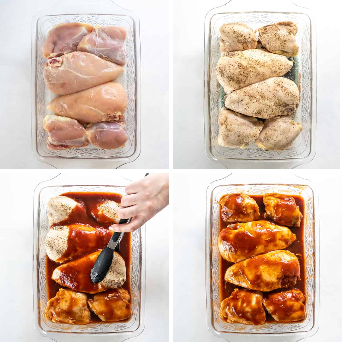 Four images showing BBQ chicken being made in a baking dish.