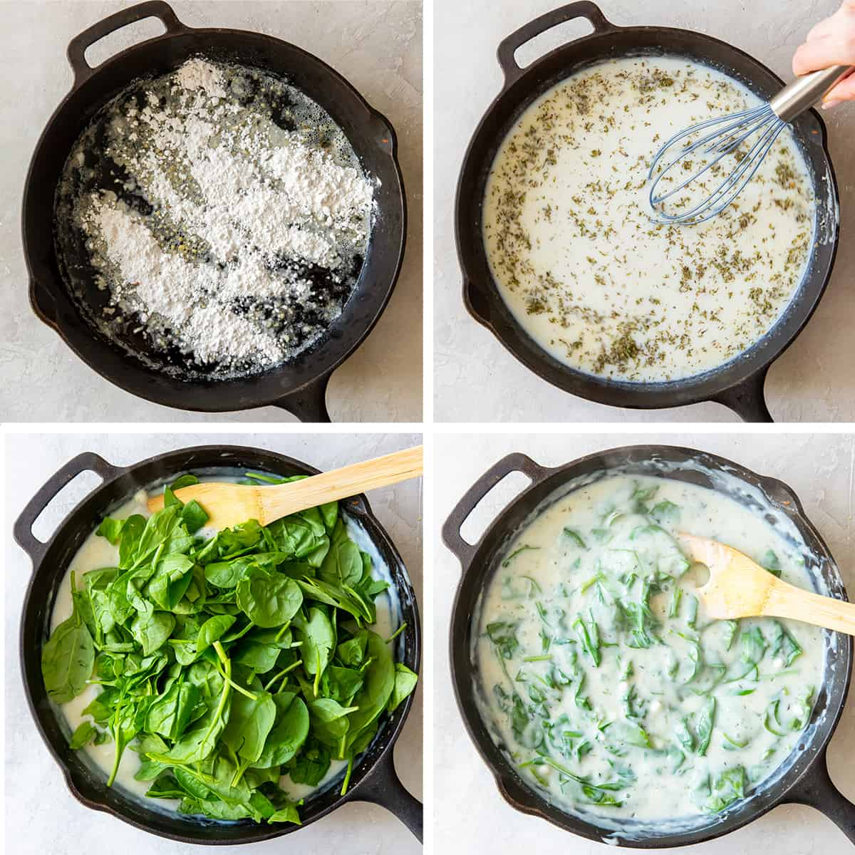 A spinach white sauce being made in a cast iron skillet.