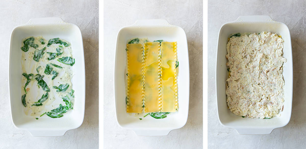 Three images showing lasagna being layered in a white baking dish.