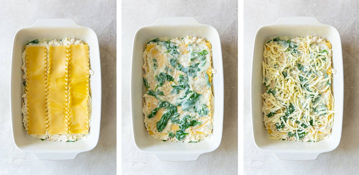 Three images showing the 2nd layer of lasagna in a white baking dish.