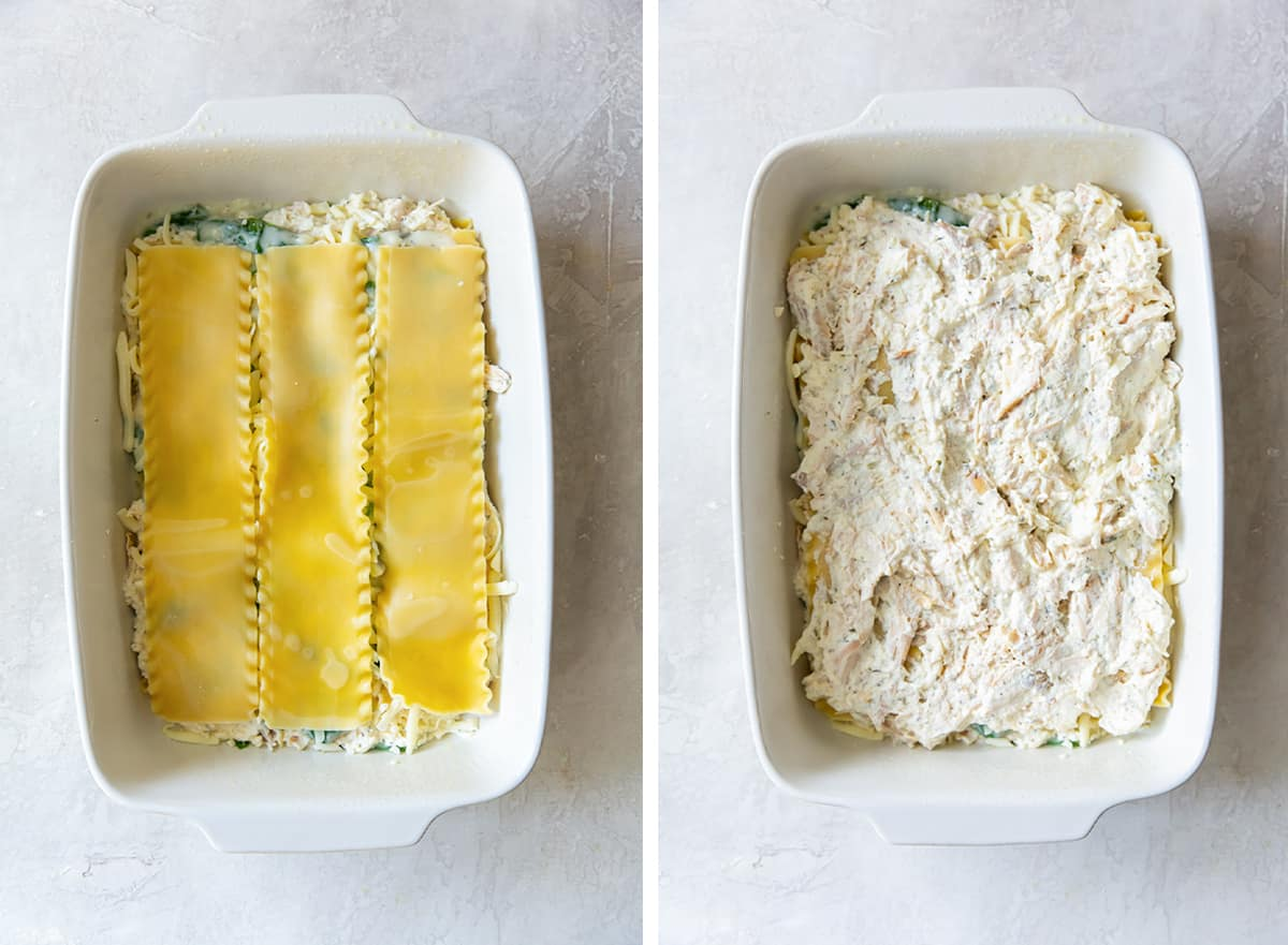 Lasagna noodles and a chicken ricotta mixture are layered in a baking dish.